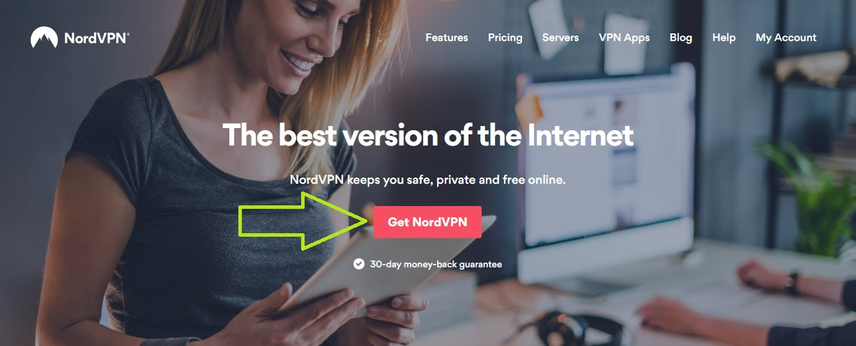 NordVPN homepage screenshot